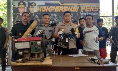 Polisi amankan 7 pelaku pengrusakan bangunan di kawasan tebing via verata Kecamatan Watulimo beserta barang buktinya