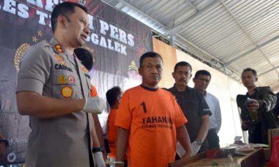 Kapolres Trenggalek tunjukkan barang bukti kasus perjudian jenis kletek yang terjadi di Desa Sumberejo Kecamatan Durenan