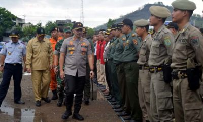 Situasi apel Gelar Pasukan siap siaga bencana di Trenggalek. (mil)