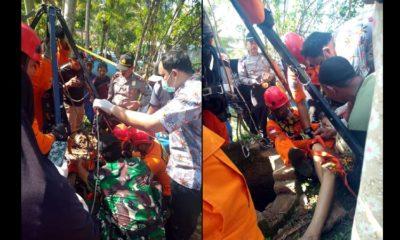 Proses evakuasi korban bunuh diri di Desa Tumpuk Kecamatan Tugu Kabupaten Trenggalek. (ist)