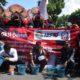Suasana aksi damai dan ngamen LSM di Trenggalek. (mil)