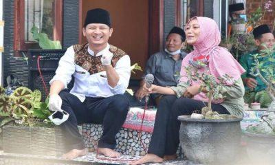 KAMPANYE: Calon Bupati Trenggalek Mochamad Nur Arifin saat melakukan kampanye di Kecamatan Gandusari.