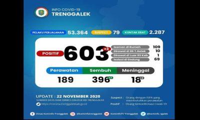 PENINGKATAN: Data pasien Covid-19 yang dirilis Dinas Kominfo Kabupaten Trenggalek yang menunjukkan adanya peningkatan pasien.