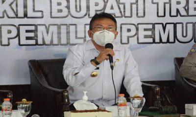 Suasana sosialisasi penyelenggaraan Pemilihan Bupati dan Wakil Bupati Trenggalek kepada calon pemilih pemula di Pendopo Manggala Praja Nugraha.