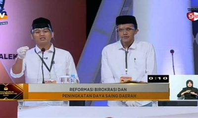 Suasana debat publik kedua Calon Bupati dan Wakil Bupati Trenggalek 2020 yang disiarkan di salah satu TV swasta.